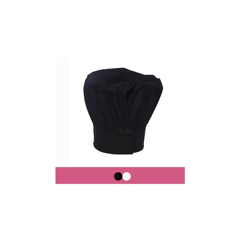 Schwarze Kochmütze größenverstellbar mit Klettverschluss